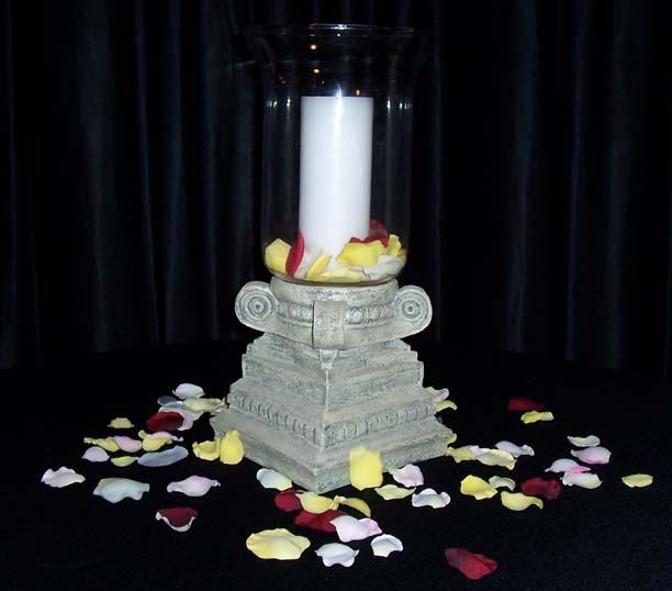 Column Hurricane centerpiece holds a pillar or taper candle and can be