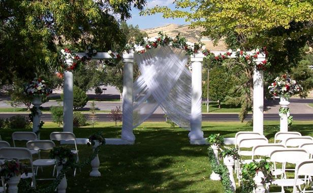 wedding backdrops, backgrounds, decorations, columns., Garden idea