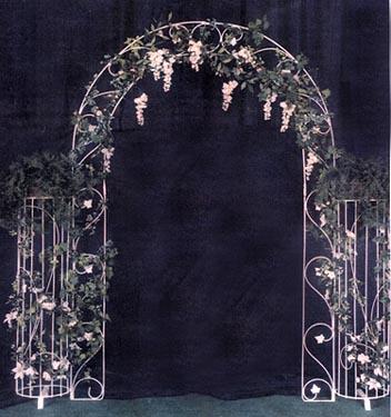 White Bridesmaid on Wedding Garden Arches  White Iron Arches  Country Creations Rental